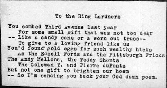 Scott Fitzgerald writes Ring Lardner